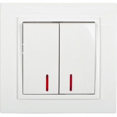 Выключатель двойной (двухклавишный) с подсветкой, 8,5*9см