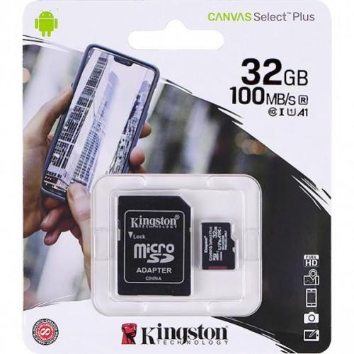 Карта памяти Kingston MicroSDHC 32GB UHS-I A1 (Class 10)+SD adapter