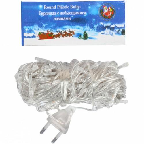 Гирлянда электрическая 100 (80) лампочек LED светится и мерцает белым цветом, прозрачный провод 8,5м