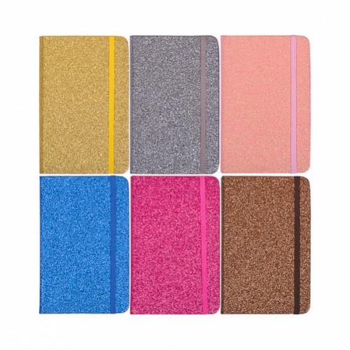 Блокнот на резинке (14*9см) 96л, глиттер, линия, лист-кремовый, тв.переп