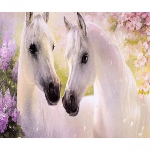 """Алмазная живопись 30*40см """"Две белые лошади"""" 9+"""