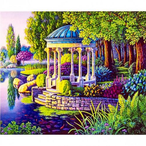 """Картина по номерам """"Пейзаж-беседка у озера"""" 40*50см"""
