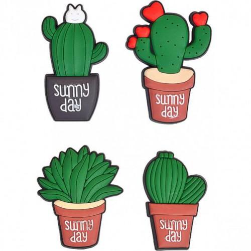"""Магнит резиновый в виде кактуса в горшке """"Sunny day"""" 7,5*5 см"""