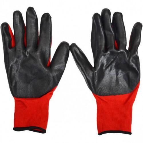 Перчатки для работы, тканные, синтетические с резиновым (черным) обливом 33г улучшающим сцепление