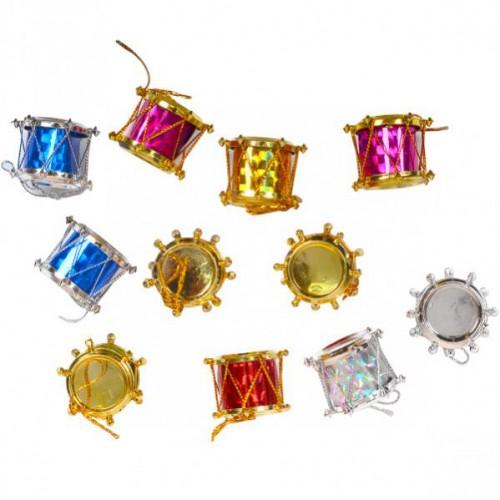 Подвесное украшение пластик., барабан цветной 2,5см (12шт)
