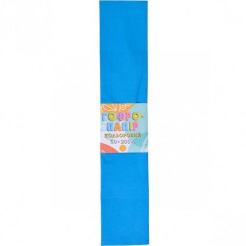 Гофрированная бумага 50*200см, синий, 17г/м2 20%