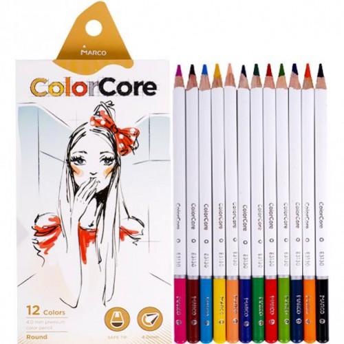 """Набор цветных карандашей 12цв """"ColorCore"""" белый корпус MARCO"""