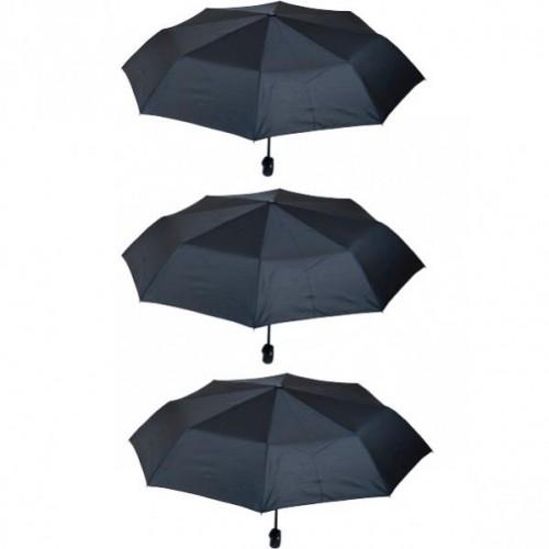 Зонтик складной полуавтомат черный в чехле с системой антиветер