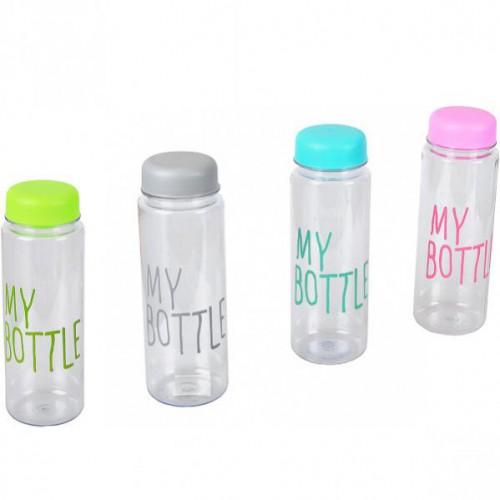 Бутылочка пластик. для воды с крышкой 0,5л, цветная