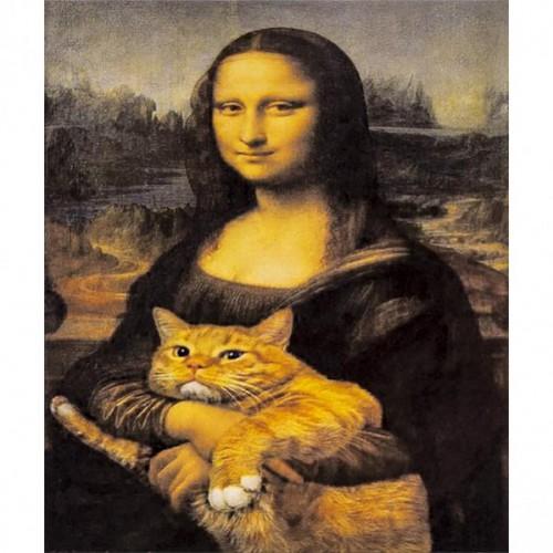 """Алмазная живопись 30*40см """"Мона Лиза с котом"""" 9+"""