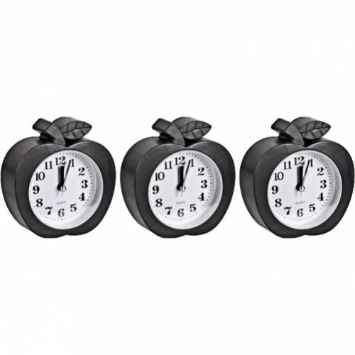Настольные часы - будильник «Яблоко черное» 10*11*4см