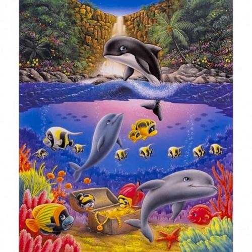 """Картина по номерам """"Маленькие дельфинчики"""" 40*50см"""