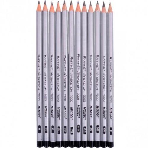 Набор простых карандашей 12шт  в метал.пенале MARCO