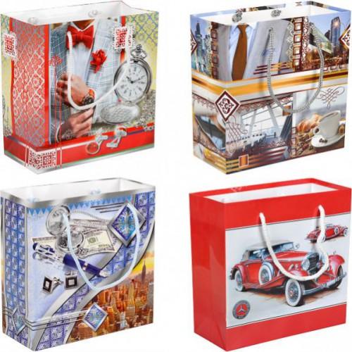 Пакет цветной чашка «Мужской» 16*16*7см, глянцевый, ручки шнурок