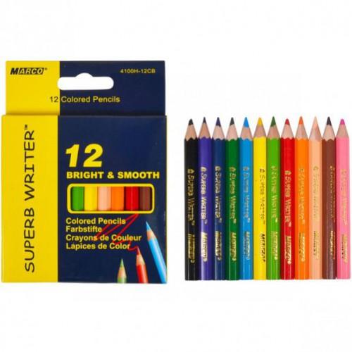 Набор цветных укороченных карандашей 12 цветов серия Superb Writer MARCO