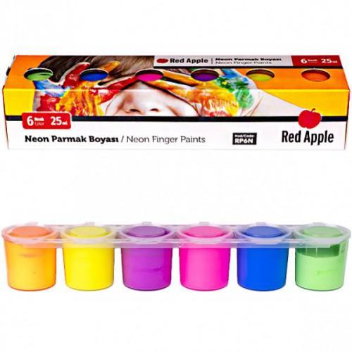 "Пальчиковые краски 6цв*25мл ""неон"" «Red Apple» блок-тара"