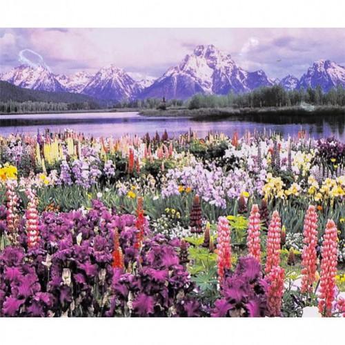 """Алмазная живопись 30*40см """"Пейзаж-горы, река, цветочное поле"""" 9+"""