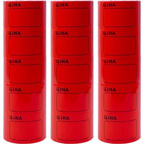 Ценник большой 3,5*5,0см «Ціна» с рамкой, красный (100шт)