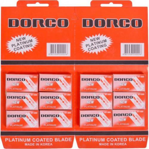 Лезвия DORCO классические, двухсторонние для бритья с платиновым покрытием