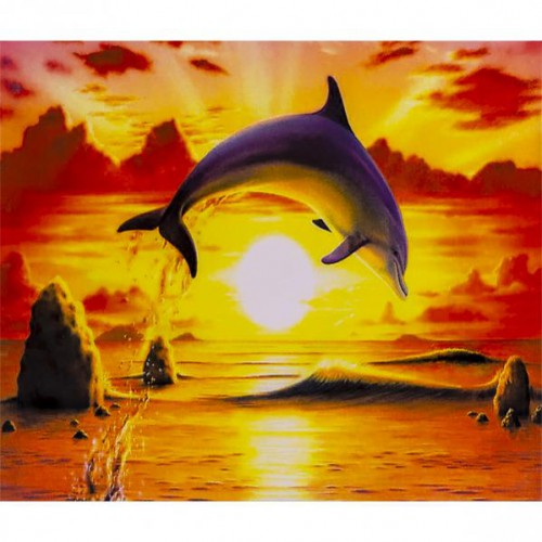 "Картина по номерам ""Дельфин на закате"" 40*50см"