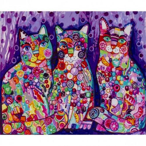 """Картина по номерам """"3 цветных кота"""" 40*50см"""