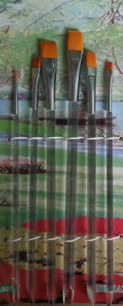 Набор кистей нейлон 6шт (плоские прямые, ручка - дерево)