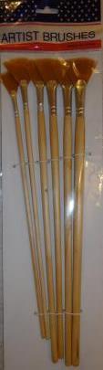 Набор кистей нейлон 6шт (веерные, ручка - дерево)