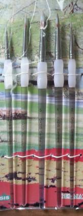 Набор кистей нейлон 5шт (круглые, ручки - акрил)