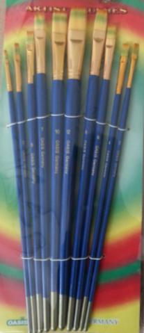Набор кистей нейлон 10шт (плоские прямые, ручка - дерево)