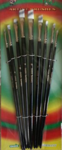 Набор кистей нейлон 9шт (плоские, ручка - дерево)