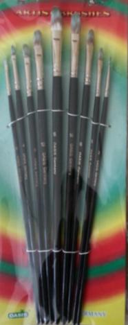 Набор кистей нейлон 9шт (плоские элипс, ручка - дерево)