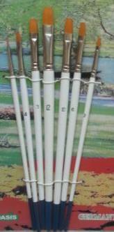 Набор кистей нейлон 7шт (прямые плоские, ручка - дерево)