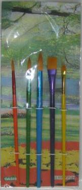 Набор кистей нейлон 5шт, микс, ручка - дерево