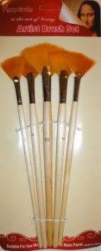 Набор кистей нейлон 5шт (веерные, ручка - дерево)