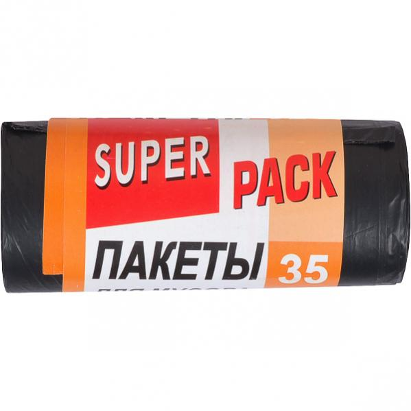 Пакет для мусора 50*60/35л 15шт. Super Luxs черный