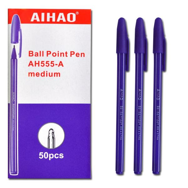 Ручка шариковая масляная 0,5мм, ФИОЛЕТОВАЯ Aihao