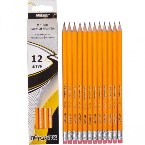 Набор простых карандашей 12шт с ластиком серия Пегашка MARCO