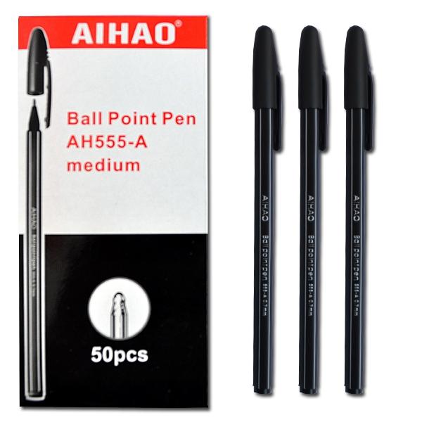 Ручка шариковая масляная 0,5мм, ЧЕРНАЯ Aihao