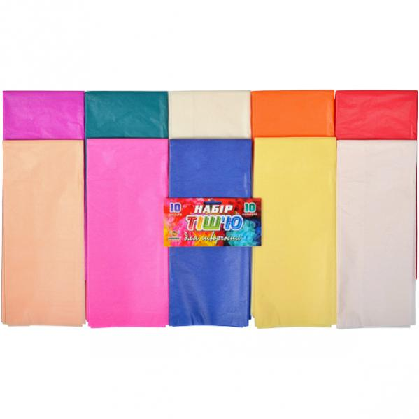 Цветная бумага тишью 50*70см 10цв. 10л.